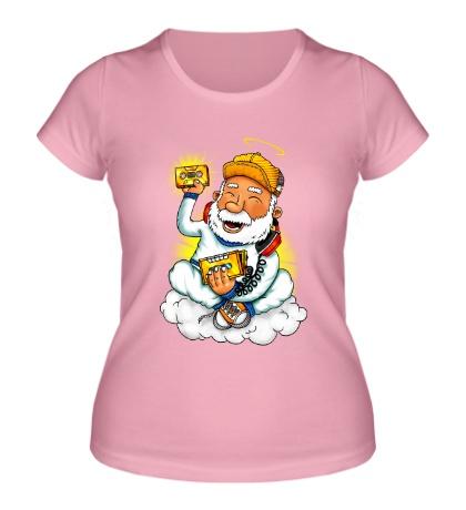 Женская футболка Святой в наушниках