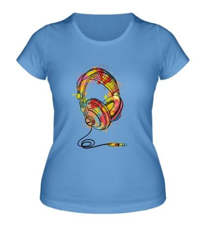 Женская футболка Цветные наушники