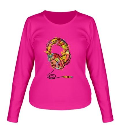 Женский лонгслив Цветные наушники