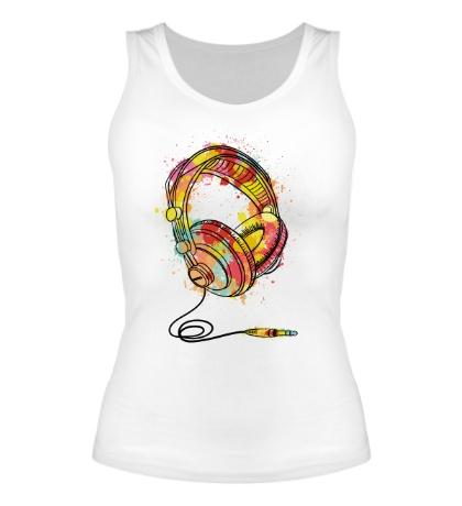 Женская майка «Цветные наушники»