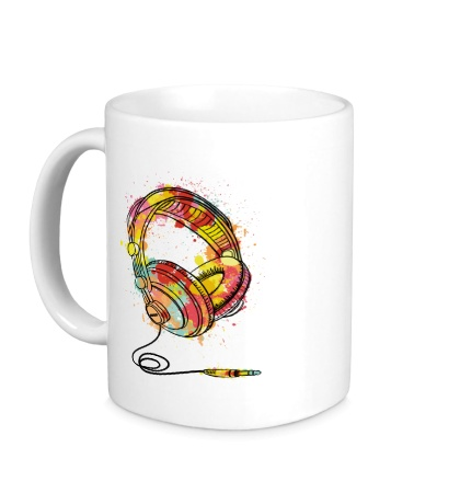 Керамическая кружка Цветные наушники