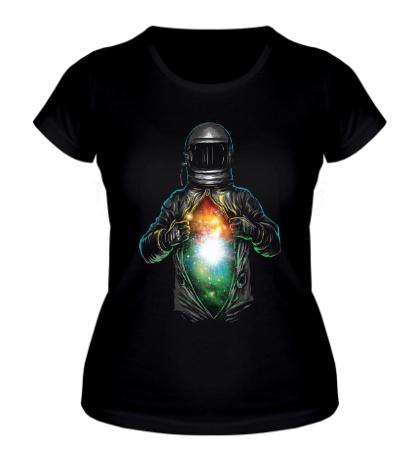 Женская футболка Космос внутри космонавта