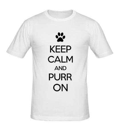 Мужская футболка Keep calm and purr on