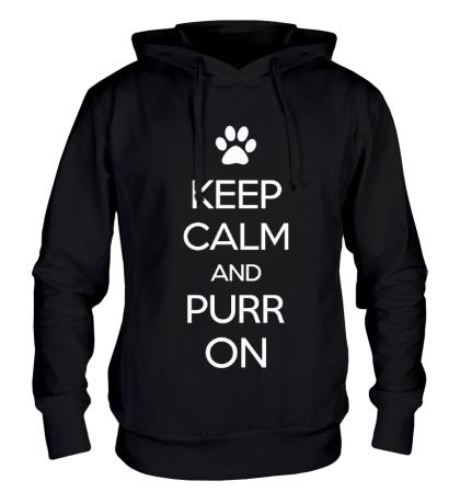 Толстовка с капюшоном Keep calm and purr on
