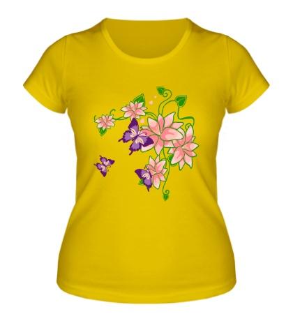 Женская футболка Цветы и бабочки