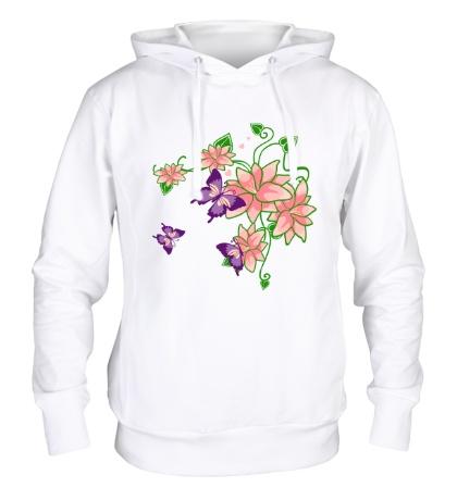 Толстовка с капюшоном Цветы и бабочки