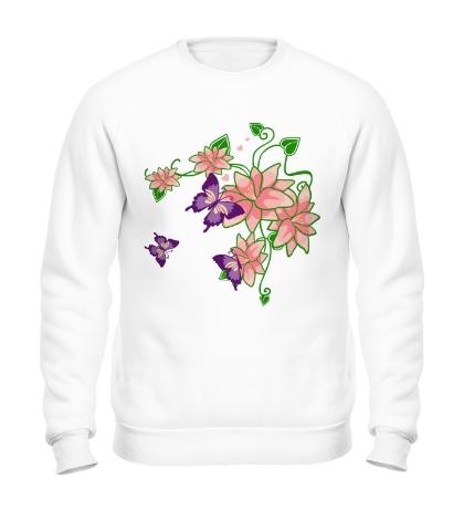 Свитшот Цветы и бабочки