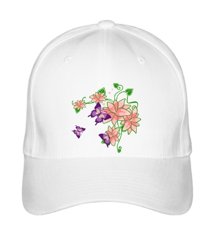 Бейсболка Цветы и бабочки