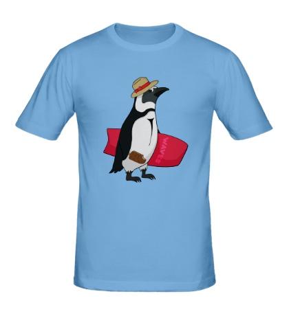 Мужская футболка Пингвин сёрфер