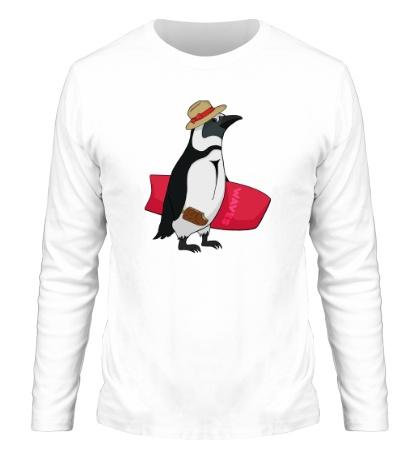Мужской лонгслив Пингвин сёрфер