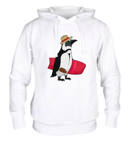 Толстовка с капюшоном Пингвин сёрфер