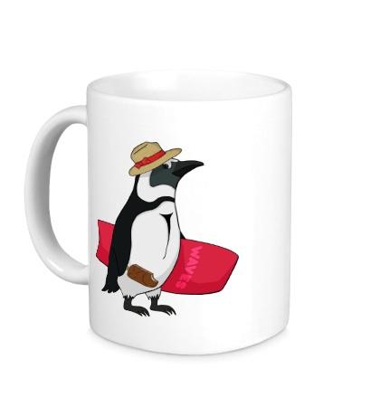 Керамическая кружка Пингвин сёрфер