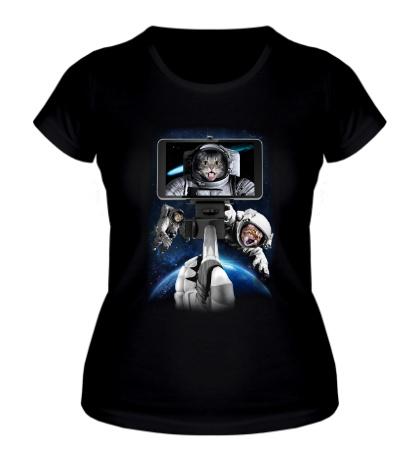 Женская футболка Коты-астронавты
