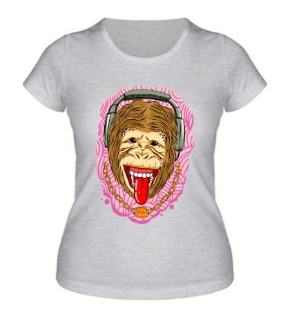 Женская футболка Обезьяна меломан