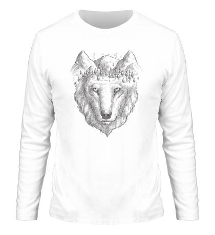 Мужской лонгслив Взгляд волка