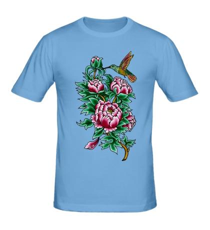 Мужская футболка Колибри в цветах