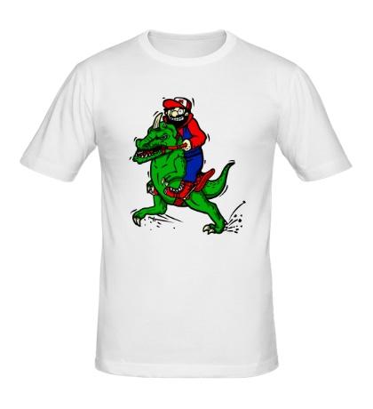 Мужская футболка Марио на динозавре