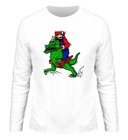 Мужской лонгслив Марио на динозавре