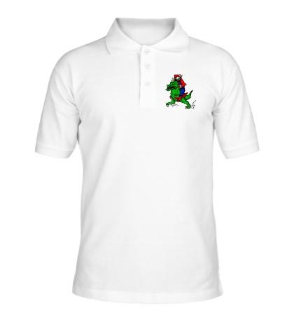 Рубашка поло Марио на динозавре