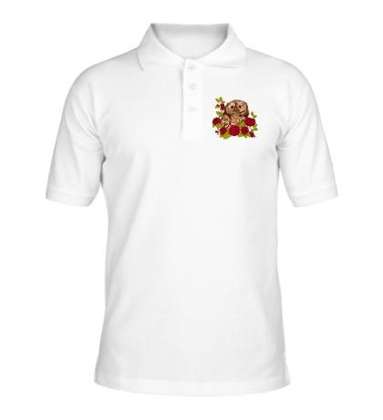 Рубашка поло Сова в розах