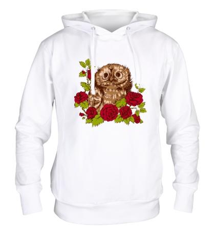 Толстовка с капюшоном Сова в розах