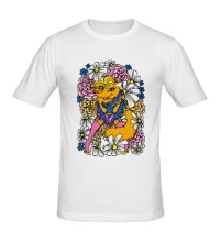 Мужская футболка Лиса в цветах