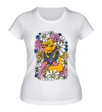 Женская футболка Лиса в цветах