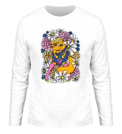 Мужской лонгслив Лиса в цветах