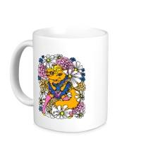 Керамическая кружка Лиса в цветах