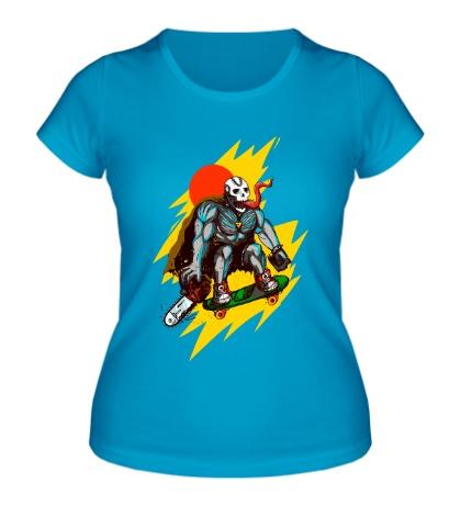 Женская футболка Страшный скейтер
