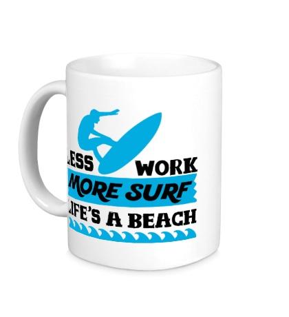 Керамическая кружка Less Work, More Surf