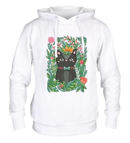 Толстовка с капюшоном Киса в цветах