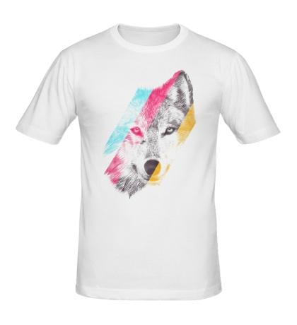 Мужская футболка Цветной волк