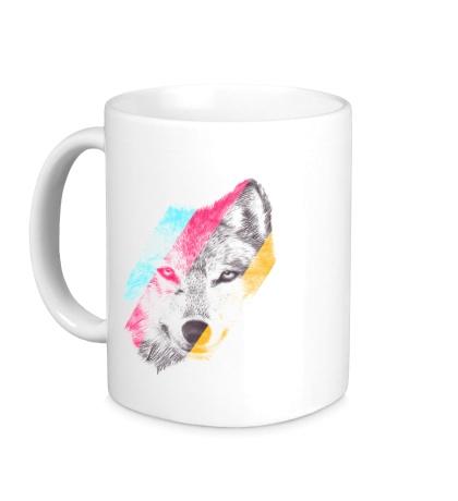 Керамическая кружка Цветной волк