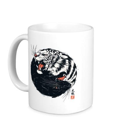 Керамическая кружка Тигры Инь и Ян
