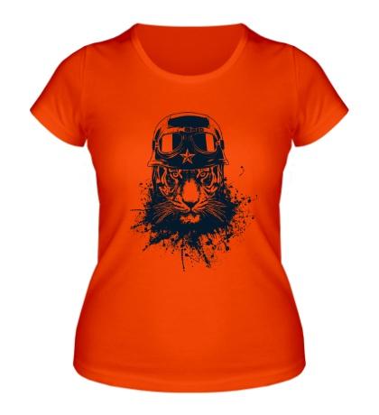 Женская футболка Тигр-солдат