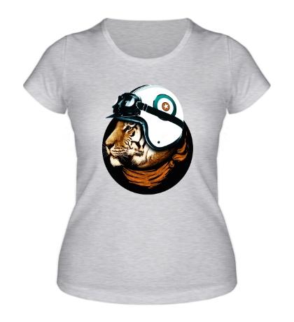 Женская футболка Тигр-летчик