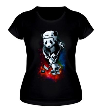 Женская футболка Панда-хоккеист