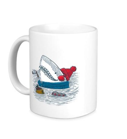 Керамическая кружка Акула-хоккеист