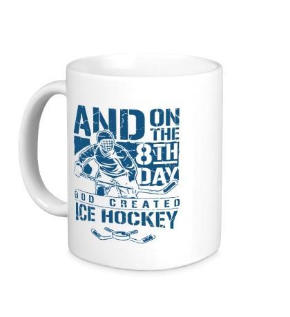 Керамическая кружка God created: Ice hockey