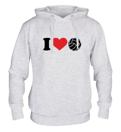 Толстовка с капюшоном I love volley