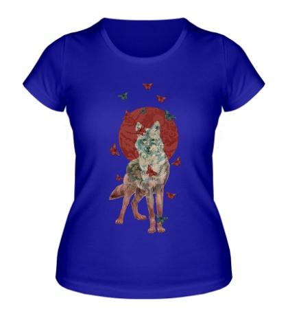 Женская футболка Волчица в бабочках