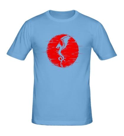 Мужская футболка Дракон на закате