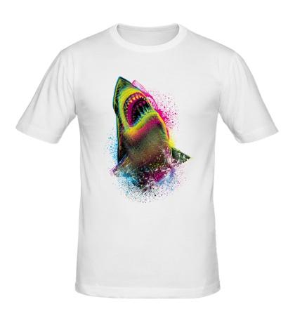 Мужская футболка Цветная акула