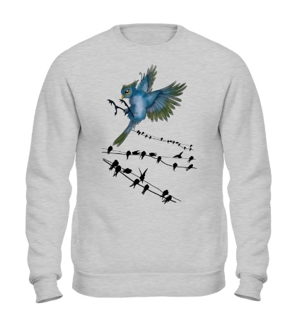 Свитшот Птицы на проводах
