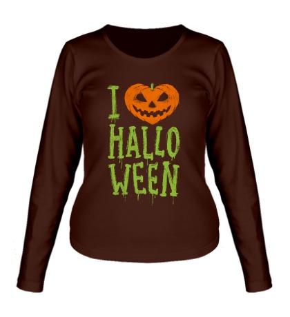 Женский лонгслив I love Halloween