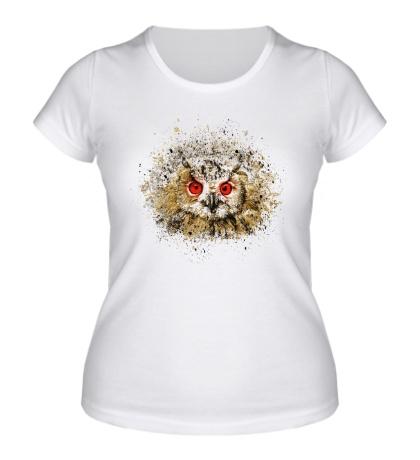 Женская футболка Сова в брызгах