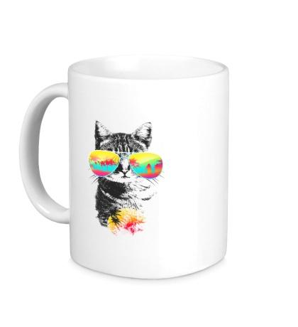 Керамическая кружка Пляжный кот