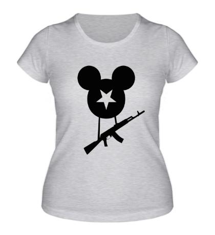 Женская футболка Микки с автоматом