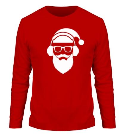 Мужской лонгслив Санта в наушниках